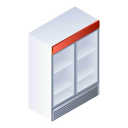 Drink fridge icon. Isometric of drink fridge icon for web design isolated on white background Фото со стока
