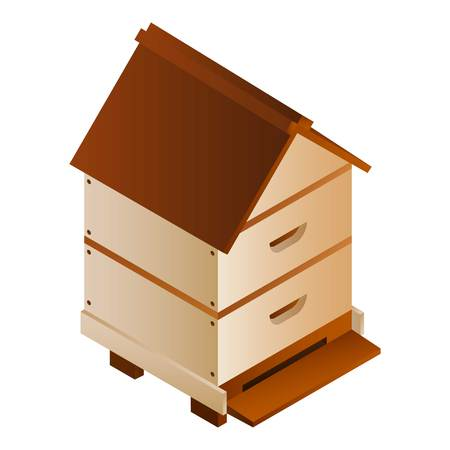 Bee house icon. Isometric of bee house icon for web design isolated on white background