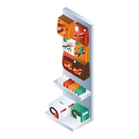 Small supermarket shelf icon. Isometric of small supermarket shelf icon for web design isolated on white background