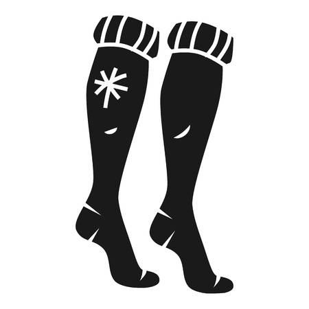 Long winter socks icon. Simple illustration of long winter socks icon for web design isolated on white background Stok Fotoğraf