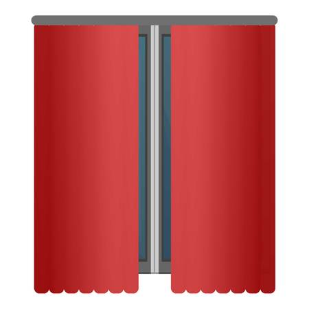 Red window curtains icon. Cartoon of red window curtains icon for web design isolated on white background Stock Photo