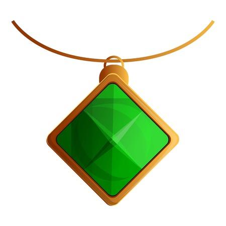 Necklace green pendant icon. Cartoon of necklace green pendant icon for web design isolated on white background Stock Photo