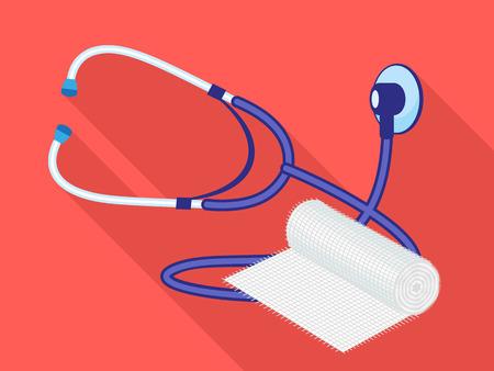 Stethoscope swathe icon. Flat illustration of stethoscope swathe vector icon for web design