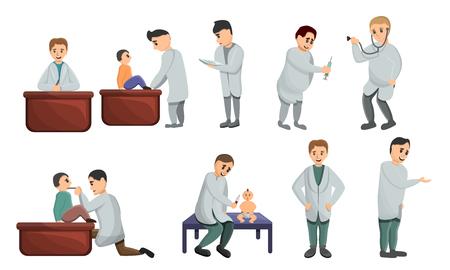 Pediatrician icons set. Cartoon set of pediatrician vector icons for web design