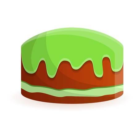 Green cake birthday icon. Cartoon of green cake birthday vector icon for web design isolated on white background Vektorové ilustrace