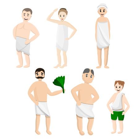 Bath towel icons set. Cartoon set of bath towel vector icons for web design Illustration