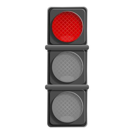 City red traffic light icon. Cartoon of city red traffic light vector icon for web design isolated on white background