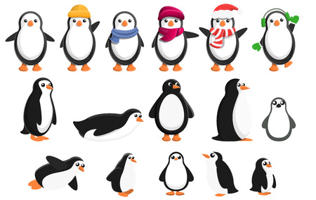 Penguin icons set. Cartoon set of penguin vector icons for web design