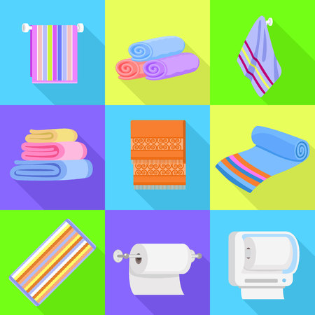 Towel icons set. Flat set of towel vector icons for web design