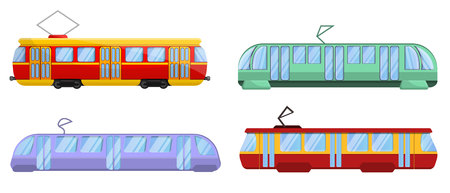 Tram car icons set. Cartoon set of tram car vector icons for web design