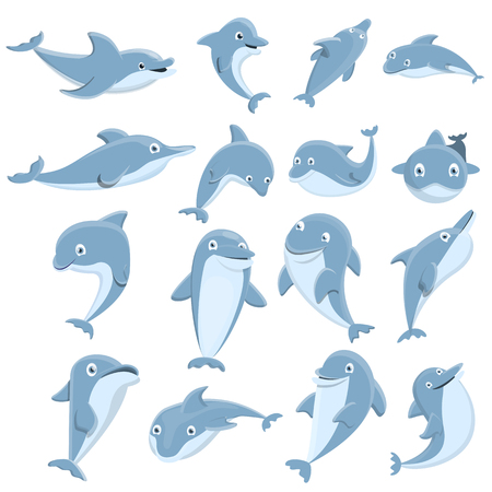 Dolphin icons set. Cartoon set of dolphin vector icons for web design