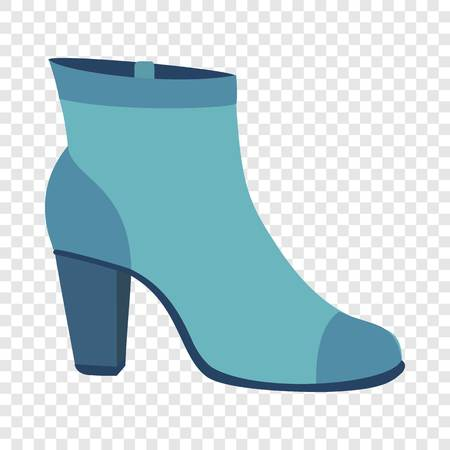 Blue woman shoe icon. Flat illustration of blue woman shoe icon for web design