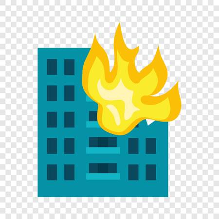 Building in fire icon. Flat illustration of building in fire icon for web design