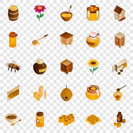 Honey icon set. Isometric set of honey icons for web design