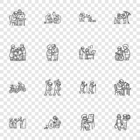 Conjunto de iconos de personas mayores. Conjunto simple de iconos de personas mayores para diseño web