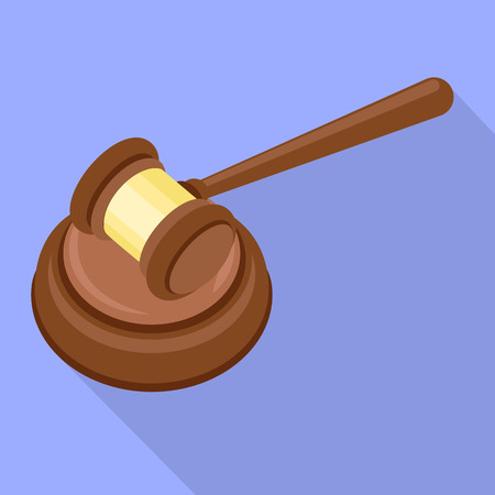 Judge gavel icon. Flat illustration of judge gavel icon for web design Stock Photo
