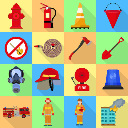 Fire fighter icon set. Flat set of fire fighter icons for web design