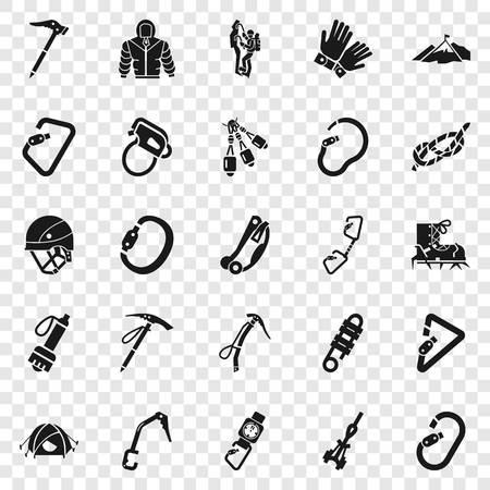Bergsteigen-Ausrüstung-Icon-Set. Einfacher Satz von Bergsteigerausrüstungssymbolen für Webdesign Standard-Bild