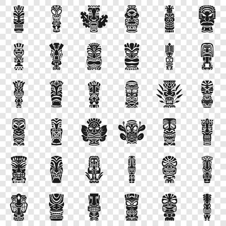 Tiki idols icon set. Simple set of tiki idols icons for web design