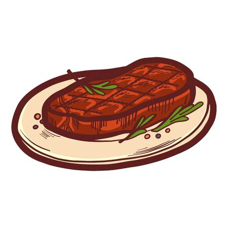 Cooked steak on plate icon. Hand drawn illustration of cooked steak on plate icon for web design Archivio Fotografico - 115245817