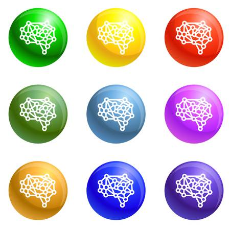Artificial brain icons 9 color set isolated on white background for any web design