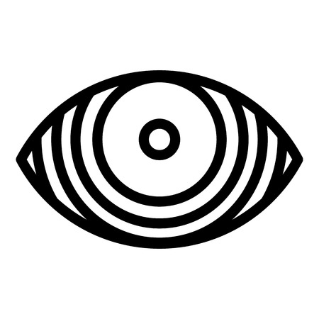 Concentrated eye icon. Outline concentrated eye vector icon for web design isolated on white background Illustration