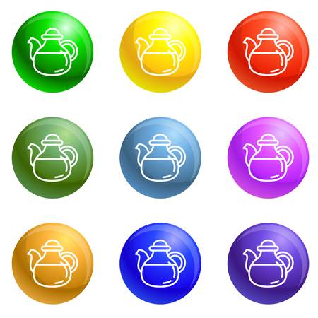 Tea pot icons vector 9 color set isolated on white background for any web design