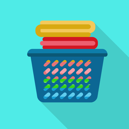 Clean clothes basket icon. Flat illustration of clean clothes basket vector icon for web design