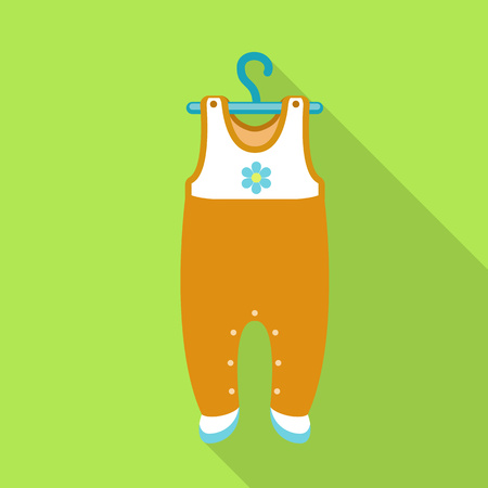 Baby clothes on hanger icon. Flat illustration of baby clothes on hanger vector icon for web design Banque d'images - 126005644