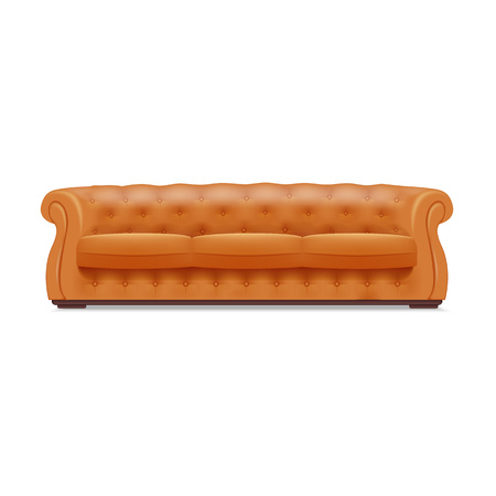 Gold leather sofa icon. Realistic illustration of gold leather sofa vector icon for web design isolated on white background
