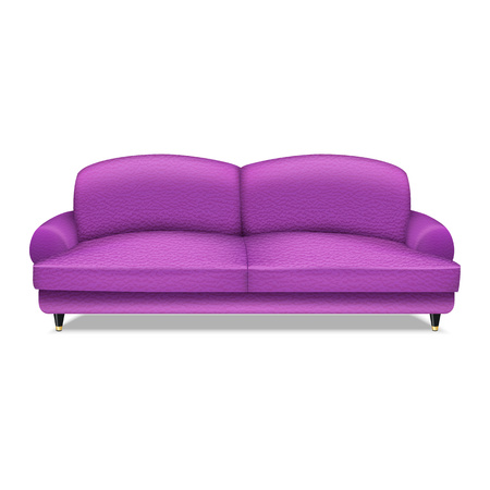 Violet leather sofa icon. Realistic illustration of violet leather sofa vector icon for web design isolated on white background