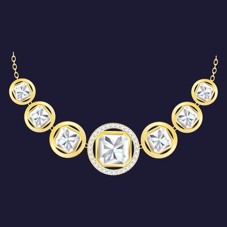 Golden diamond necklace icon. Realistic illustration of golden diamond necklace vector icon for web design Illustration