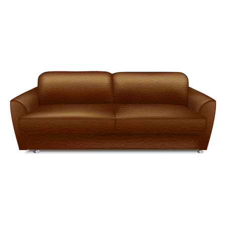 Soft leather sofa icon. Realistic illustration of soft leather sofa vector icon for web design isolated on white background