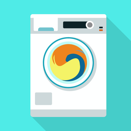 Wash machine icon. Flat illustration of wash machine vector icon for web design 矢量图像