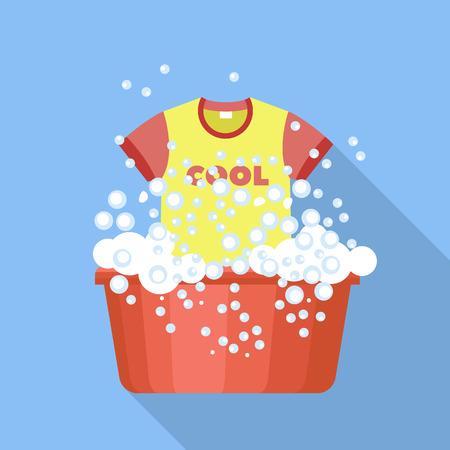 Tshirt wash plastic basin icon. Flat illustration of tshirt wash plastic basin vector icon for web design