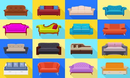 Sofa icons set. Flat set of sofa vector icons for web design Illustration