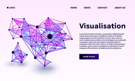 Triangular point visualisation banner. Isometric illustration of triangular point visualisation vector banner for web design