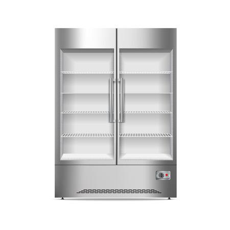 Commercial fridge icon. Realistic illustration of commercial fridge vector icon for web design isolated on white background