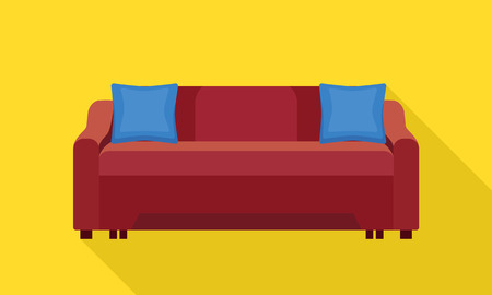 Textile sofa icon. Flat illustration of textile sofa vector icon for web design