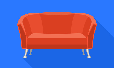 Red cover sofa icon. Flat illustration of red cover sofa vector icon for web design
