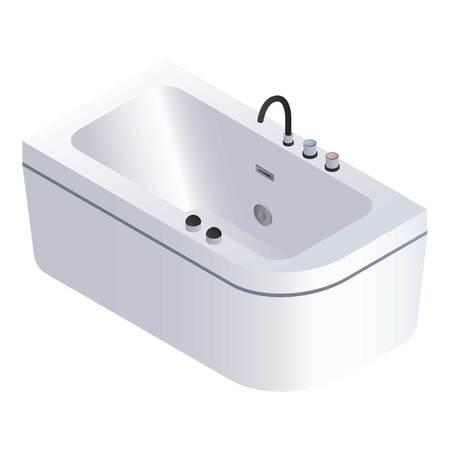 Modern bathtub icon. Isometric of modern bathtub vector icon for web design isolated on white background