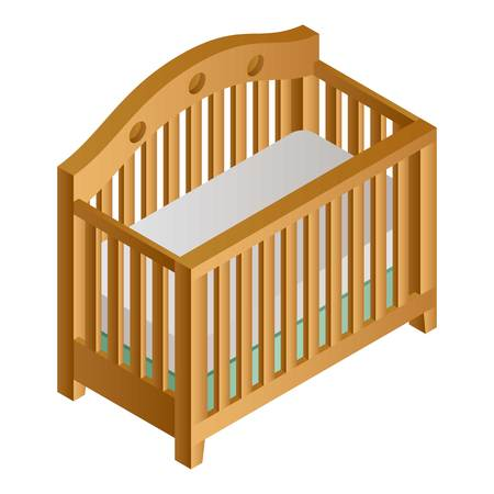 Wood baby crib icon. Isometric of wood baby crib vector icon for web design isolated on white background