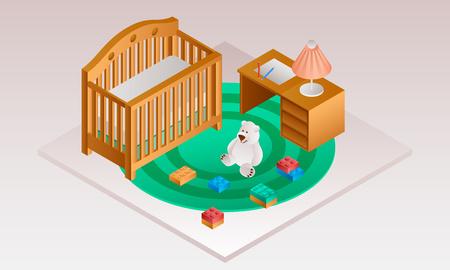 Modern room baby crib banner. Isometric illustration of modern room baby crib vector banner for web design