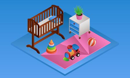 Blue room baby crib banner. Isometric illustration of blue room baby crib vector banner for web design Illustration