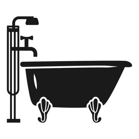 Bath with shower icon. Simple illustration of bath with shower vector icon for web design isolated on white background 向量圖像