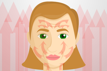 Woman face lifting concept banner. Cartoon illustration of woman face lifting vector concept banner for web design