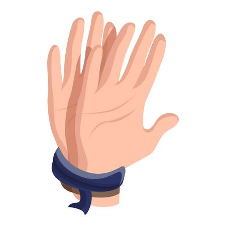 Icône de mains liées. Caricature de mains liées icône vecteur pour la conception web isolé sur fond blanc