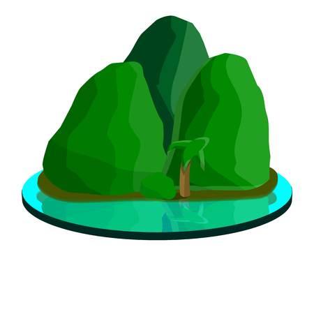 Tropical mountain island icon. Cartoon of tropical mountain island vector icon for web design isolated on white background