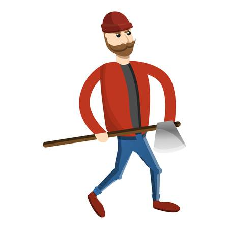 Axe man lumberjack icon. Cartoon of axe man lumberjack vector icon for web design isolated on white background