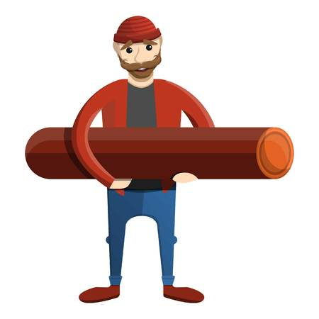 Lumberjack take wood log icon. Cartoon of lumberjack take wood log vector icon for web design isolated on white background Vektorové ilustrace